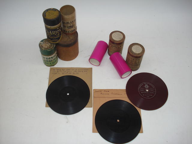 Berliner records, Edison Bell pink indestructables and small 78 rpm records: