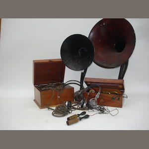 Wireless apparatus including a type 21 TT Crystophone crystal set; circa 1923,
