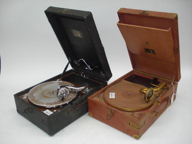 A red HMV 101 portable gramophone,