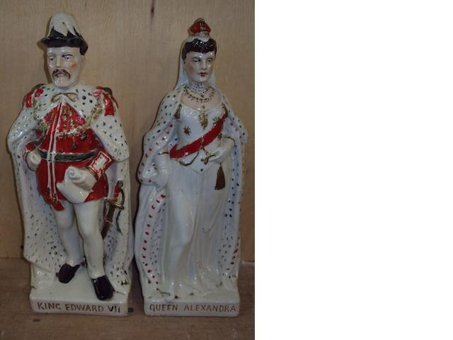 A pair of Staffordshire flatback figures of King Edward VII and Queen Alexandra