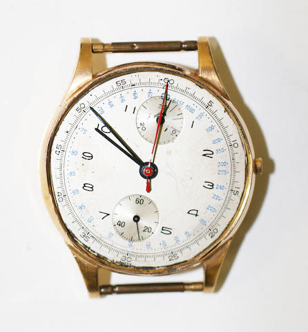 A gentleman's 18ct gold chronograph wristwatch,