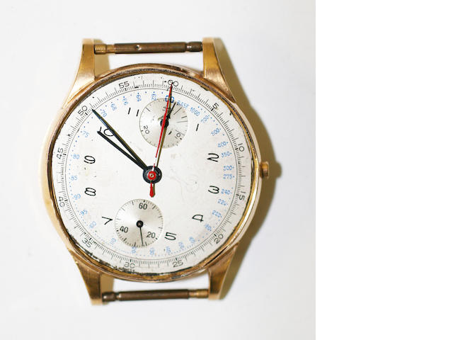 A gentleman's 18ct gold chronograph wristwatch