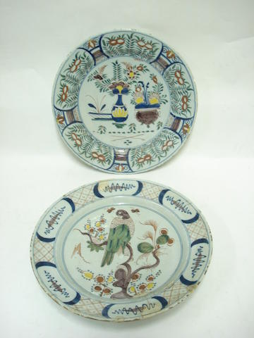 Two delft polychrome chargers Mid 18th century