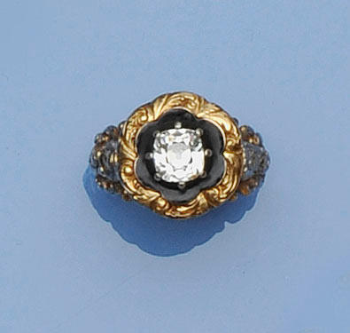 A George IV gold diamond and enamel memorial ring