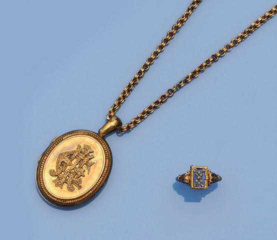 A mid 19th century diamond and blue enamelled locket ring and a locket