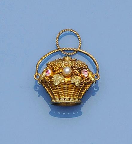 A vari gem-set giardinetto pendant