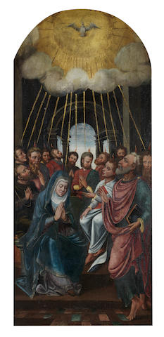 Circle of Lambert Lombard (Liège 1506-1566) The miracle of Pentecost (recto); The Annunciate Virgin (verso)