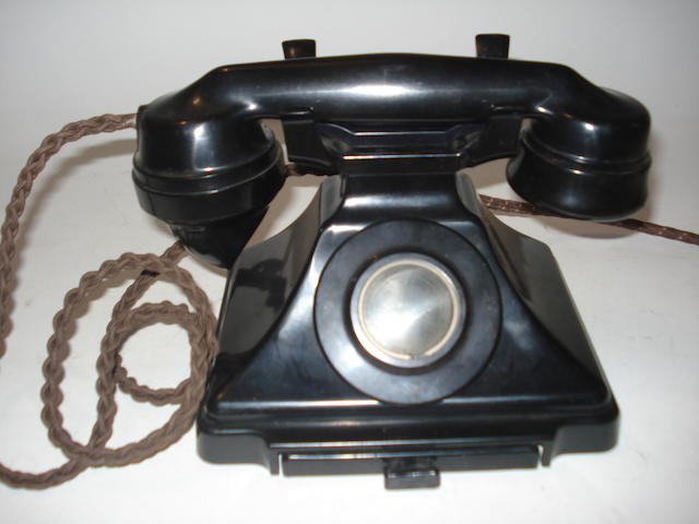 Extension and bellbox set 200-series telephones: pre and post-war models, black bakelite