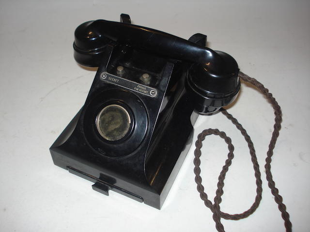 Five type 394 Government office telephones; pre and wartime dates, black bakelite,