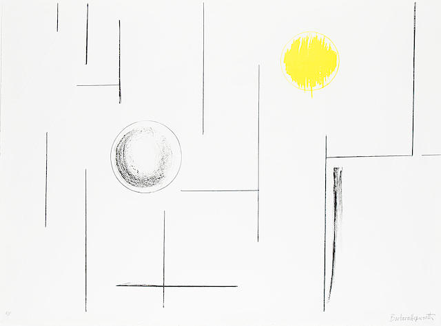 Dame Barbara Hepworth (British, 1903-1975) Sea Forms Lithograph in black and yellow with embossing, 1969, on wove, signed and inscribed 'a/p', an artist's proof aside from the edition of 60, the full sheet printed to the edges, 590 x 820mm (23 1/4 x 32 1/4in)(SH)