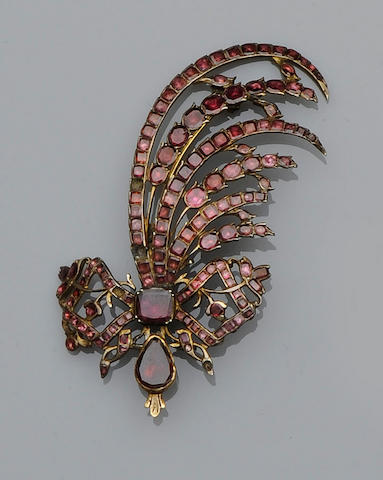 An 18th century garnet aigrette
