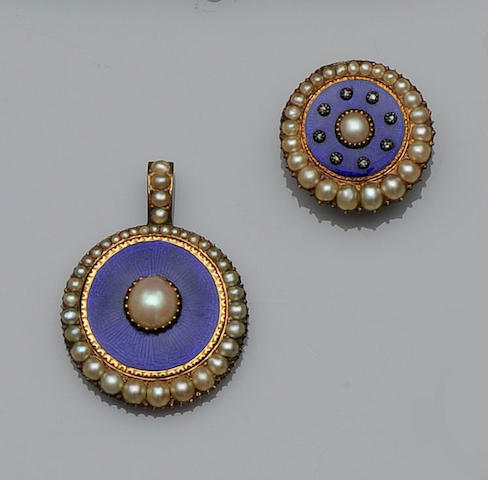 A half pearl and blue enamel pendant and brooch/pendant,