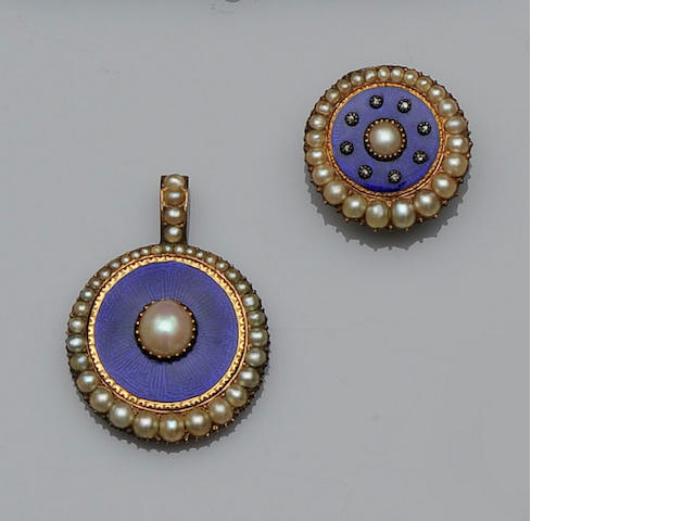 A half pearl and blue enamel pendant and brooch/pendant