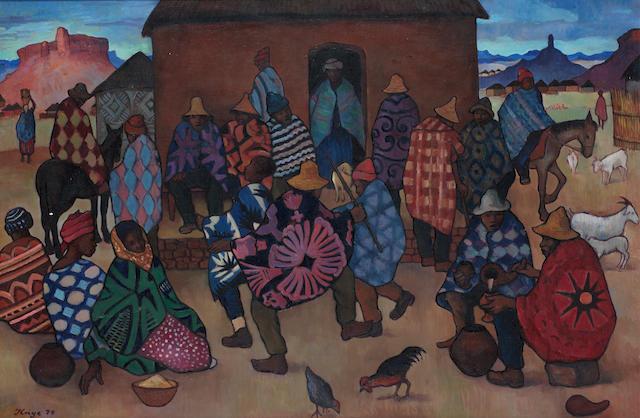 Francois Krige (South African, 1913-1994) Lesotho village scene