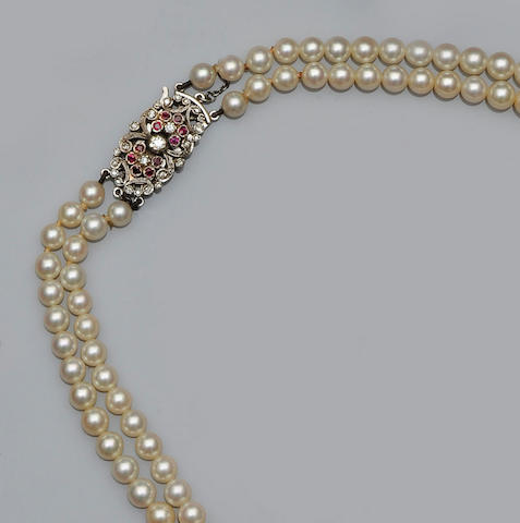 A double strand graduated cultured pearl necklace