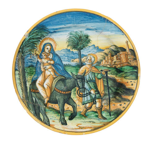 A 16th century maiolica Flight to Egypt plate