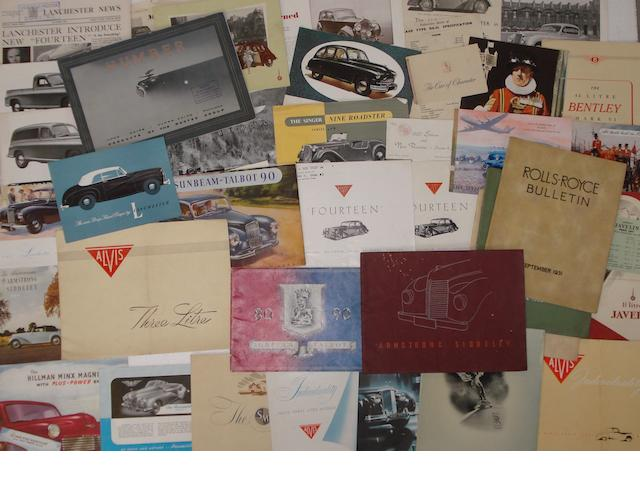 A quantity of sales literature relating to post-War British marques,
