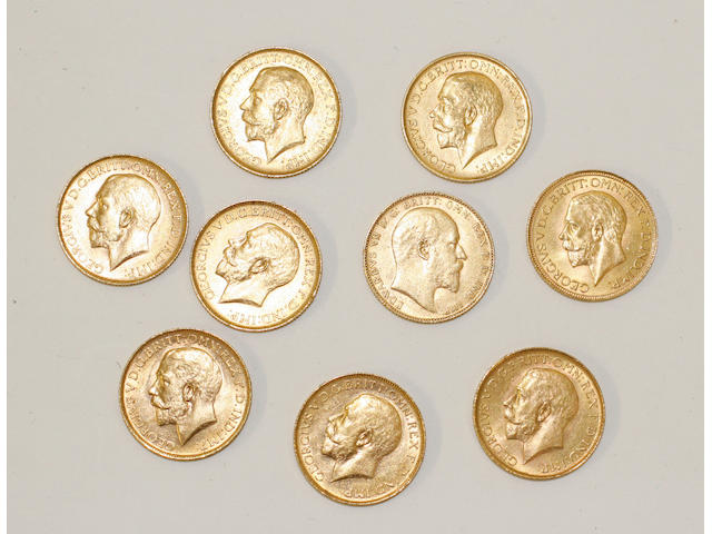 George V: Nine sovereigns dated: 1910, 1911, 1912, 1915, 1918, 1920, 1922, 1928, and 1930,