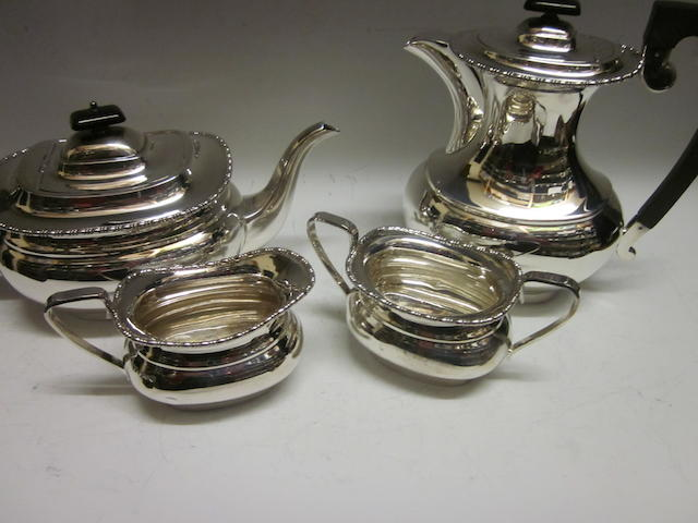 A four piece tea service, by E Viner,  Sheffield 1962,  (4)