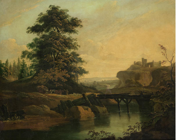 English School, 18th Century A river landscape with cattle crossing a bridge and fortified buildings on the horizon