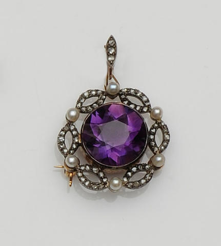 A late Victorian amethyst brooch/pendant