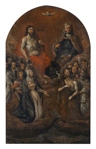 German School, circa 1600 The Holy Trinity and other Saints
