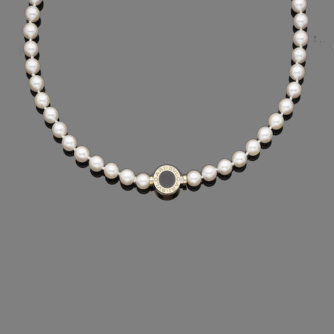 A cultured pearl necklace, by Bulgari