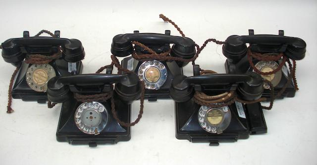 Pre-war 200-series telephones: black bakelite,