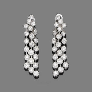 A pair of diamond-set pendent earrings