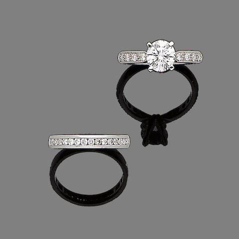 A diamond single-stone ring and a half-hoop diamond eternity ring (2)