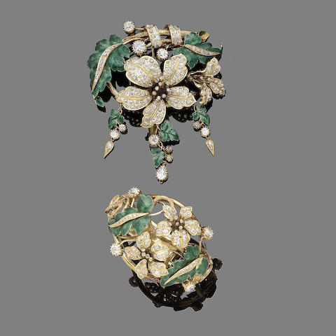 A diamond and enamel brooch and bracelet suite, (2)