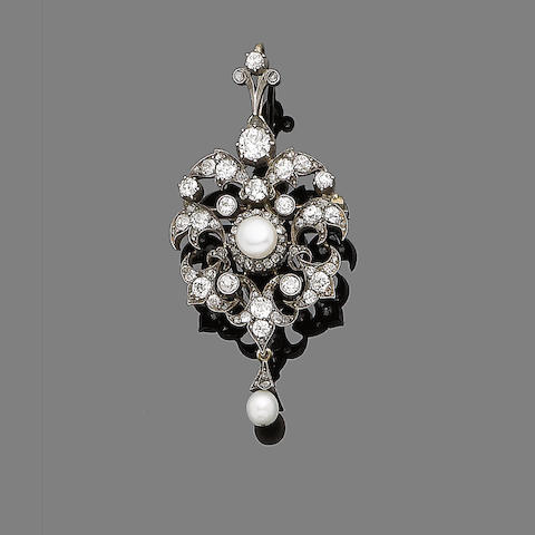 A diamond and pearl brooch/pendant,