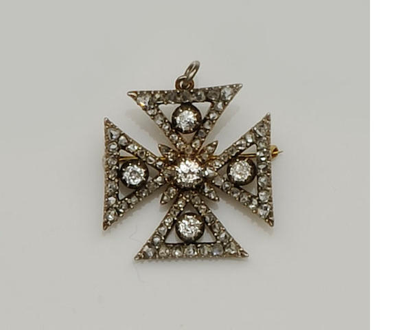 A 19th century diamond set Maltese cross brooch/pendant