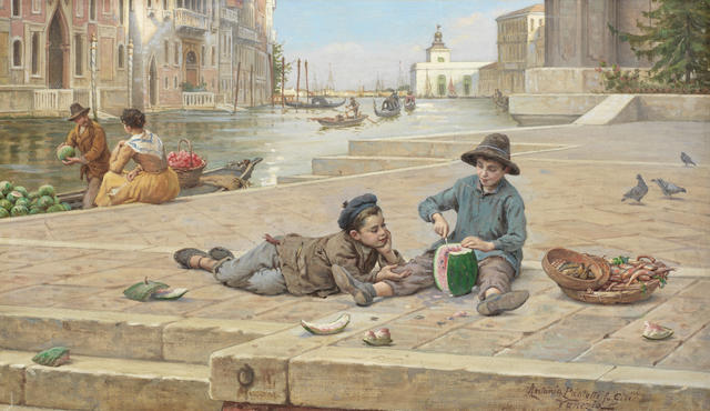 Antonio Ermolao Paoletti (Italian, 1834-1912) The melon sellers