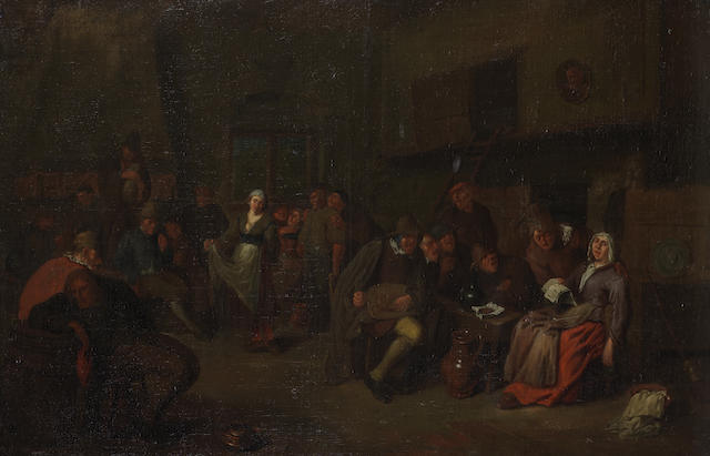 Attributed to Egbert van Heemskerck the Elder (Haarlem 1634-1704 London) Peasants merrymaking in a tavern interior unframed