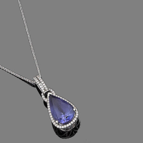 A tanzanite and diamond pendant, by Dyach