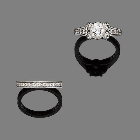A diamond single-stone ring and a diamond eternity ring, by Cartier (2)
