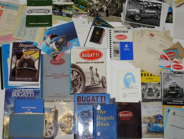 A quantity of books and ephemera relating to Bugatti cars,