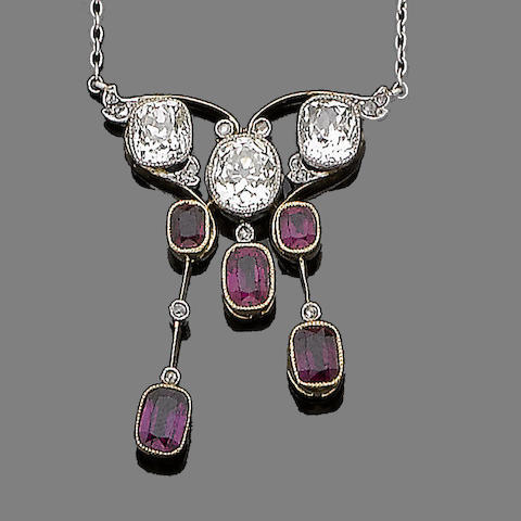 A ruby and diamond negligée pendant necklace,