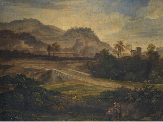 German School, circa 1800 A hermit giving alms, before an extensive Italianate landscape