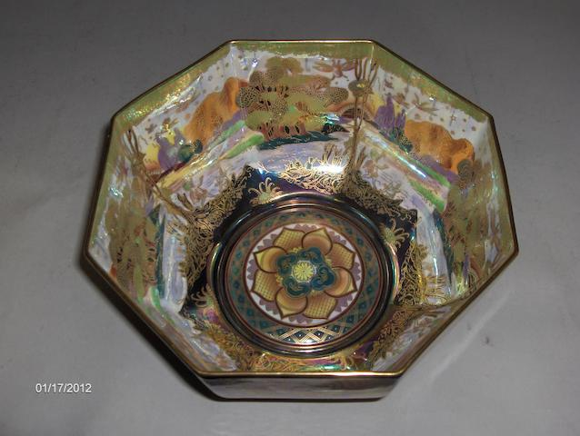 A Wedgwood Fairyland Lustre Octagonal Bowl after Daisey Makeig Ltd 3/100 21cm diam