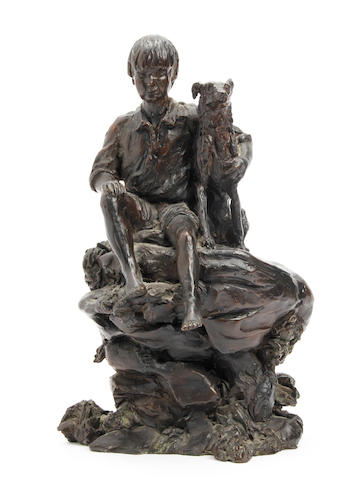 Bronze of boy & dog, 1989