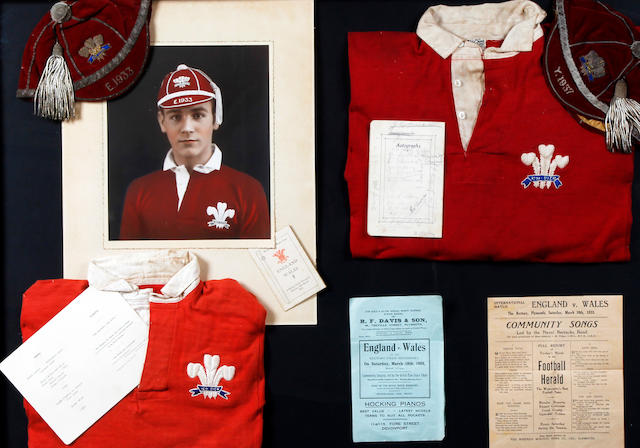 Jack Sargeant 2 shirts, 2 caps and menu card, programme, hymn sheet framed