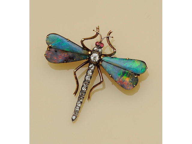 A diamond and opal dragonfly brooch