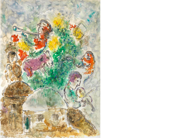 Marc Chagall (1887-1985) La musique au village (work) 76.5 x 56.5 (30 1/8 x 22 1/4in).(sheet)