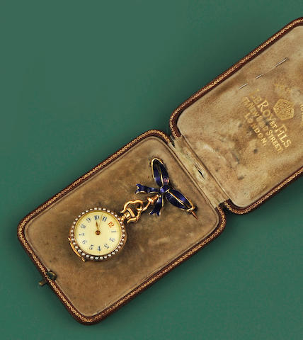 Le Roy et Fils: An enamel, diamond and seed pearl lady's fob watch