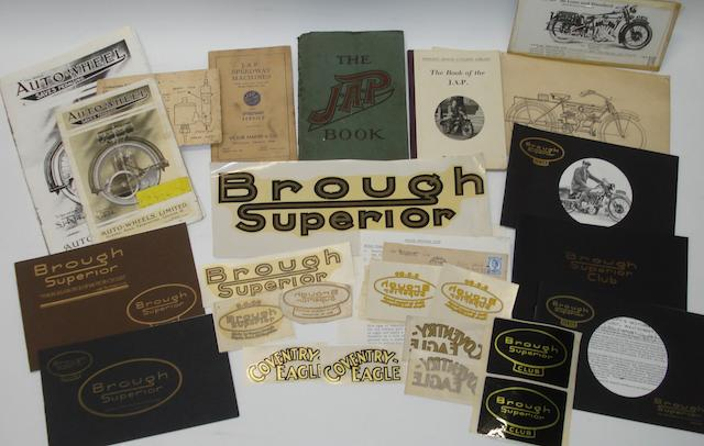 Items and ephemera relating to Brough Superior and JAP,