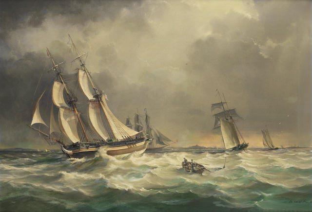 Robert Back - 1980 - Olinda Off Boston, built Salem Mass 1825, signed, oil on canvas, **** Exh:  King Street
