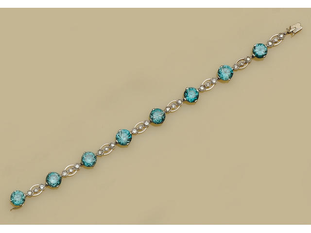 A diamond and zircon bracelet