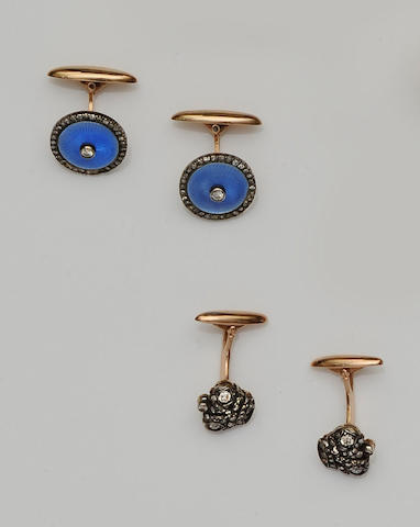 A pair of blue enamel and diamond cufflinks and a pair of diamond cufflinks (2)